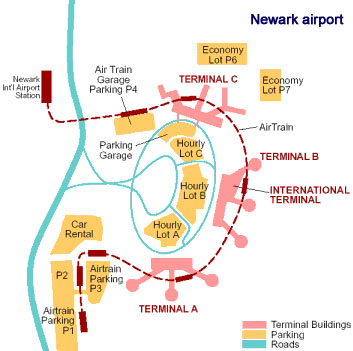 Newark airport Map : Terminal A B and C : EWR NYC